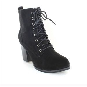 Shoes - Black Faux Suede lace up Heeled Combat Boots